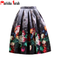 Female Fashion 2016 Street Women's Floral Print Casual Skirts Flare High Waist Pleated Pockets Vintage Midi Skirt faldas largas