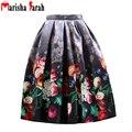 Moda femenina 2016 de las mujeres de la calle ocasional de la impresión floral faldas flare cintura alta plisado bolsillos vintage midi falda faldas largas