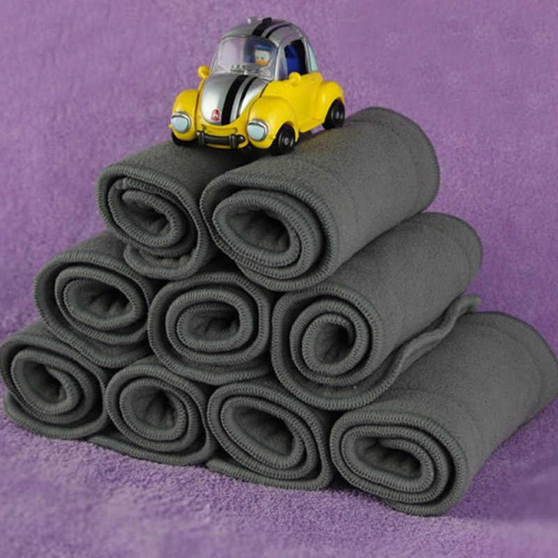 New 5pcs/10pcs 4 Layers Baby Diapers Bamboo Liner Inserts Cloth Gray Soft Reusable Washable Comfortable Infant Nappy Baby Care
