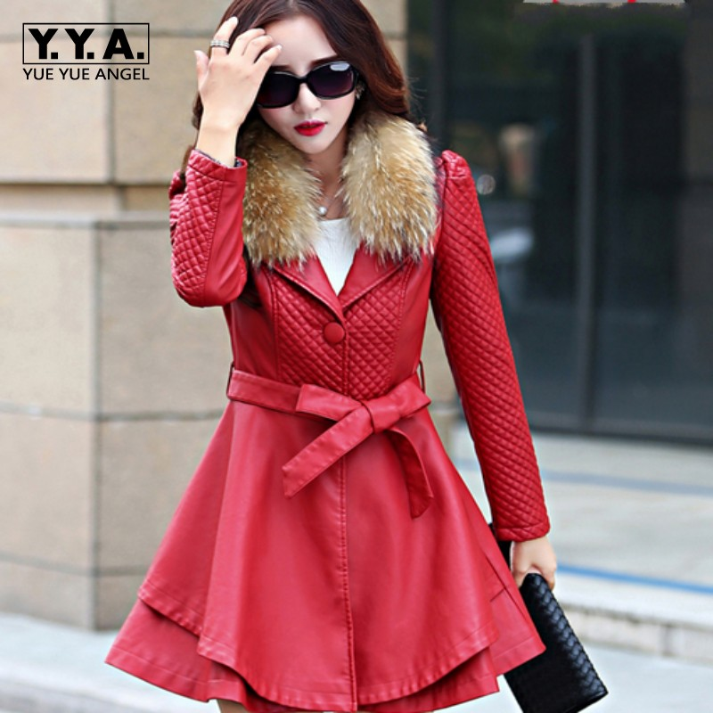 Top Quality Belted Design Slim Fit Jaqueta De Couro Feminino Pu Leather Womens Jacket Winter Coats Plus Size Casaco De Couro Red ...