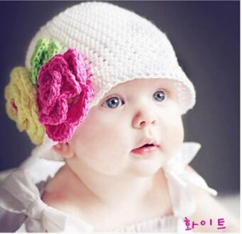 Newborn Baby Crochet Hat Capscute Handmade Baby Girls Flowers Hats