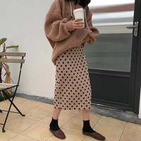 2019 Autumn Women Skirts High Waist Knitting Women Bodycon Long Skirt Faldas Jupe Femme Saia Dots Print Women Sexy Pencil Skirt