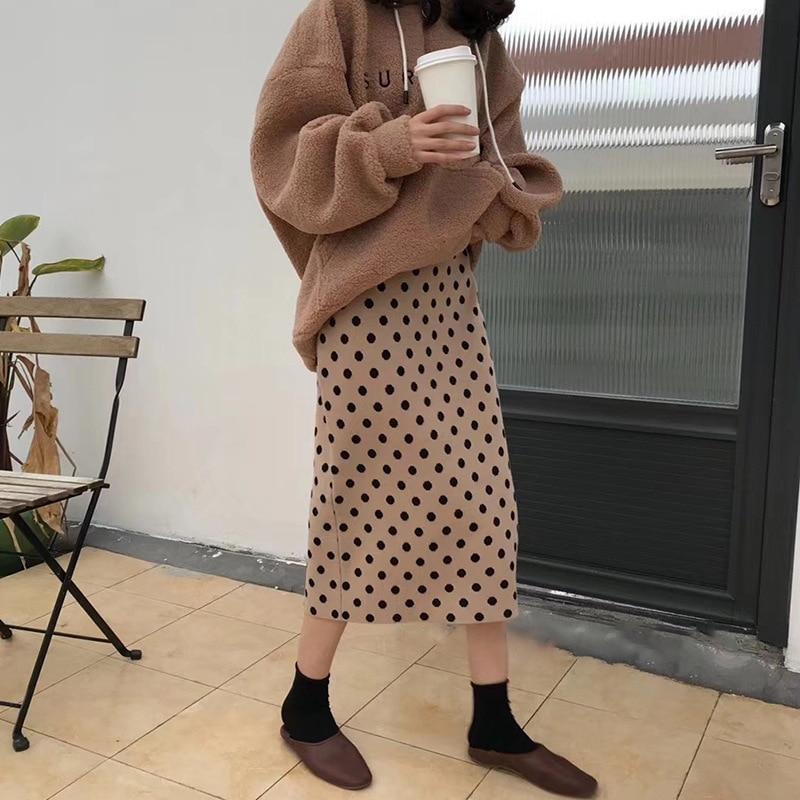 2019 automne femmes jupes taille haute tricot femmes moulante longue Jupe Faldas Jupe Femme Saia Dots imprimer femmes Sexy Jupe crayon