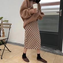 2019 가을 여성 스커트 하이 웨스트 뜨개질 여성 bodycon 롱 스커트 faldas jupe femme saia dots 프린트 여성 섹시한 펜슬 스커트