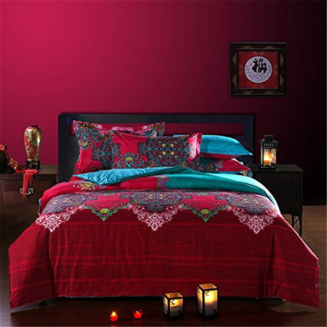 Fadfay Bohemian Bedding Set Full Double Size Sheet+Duvet Cover+Pillowcase 4pcs Cotton Sets Brushed Fabric For Winter Warm Bed
