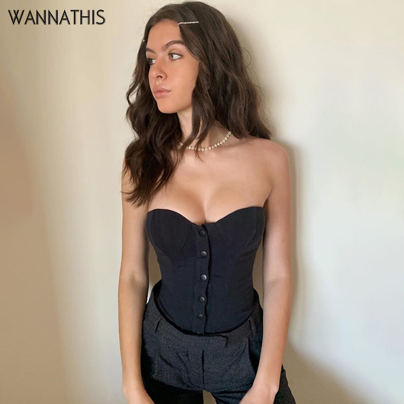WannaThis Sexy Tube Top Sleeveless Backless Party Women Top Slash Button Casual Bodycon Black Slim 2019 Fashion Summer Tank Top