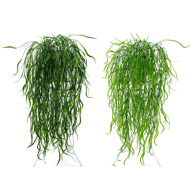 Artificial Decorations 95cm Flattened Grass Rattan Artificial Green Leaves Simulation Plants For Home Garden Wedding Decoration Floral Fake Flower Vine Relieving Rheumatism