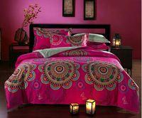 Chinoiserie 4 pcs cama configurando bohemia / boho capa de edredão set, Capa + lençol + Pillow Sham 4 pc cama sets100 % tecido de algodão lixado
