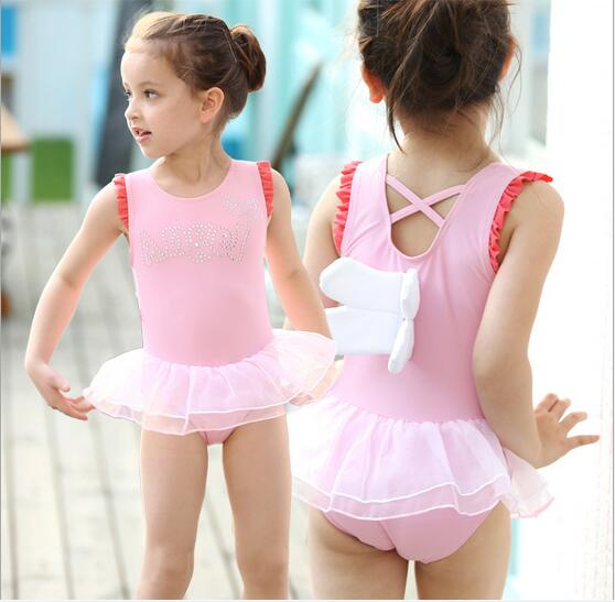 048e2fba1296 Pink Girl One Pieces Swimwear Cute Baby Girls Swim Suits Bikini ...
