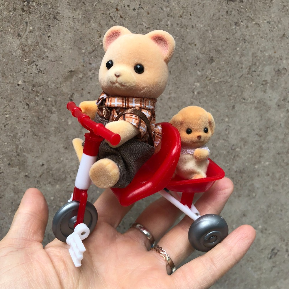 1set 8cm Sylvanian families bicycle play house toy+2 RANDOM(not photo shows)animal plush flocking Sylvan family action doll d11 nad sylvan nad sylvan the bride said no 2 lp