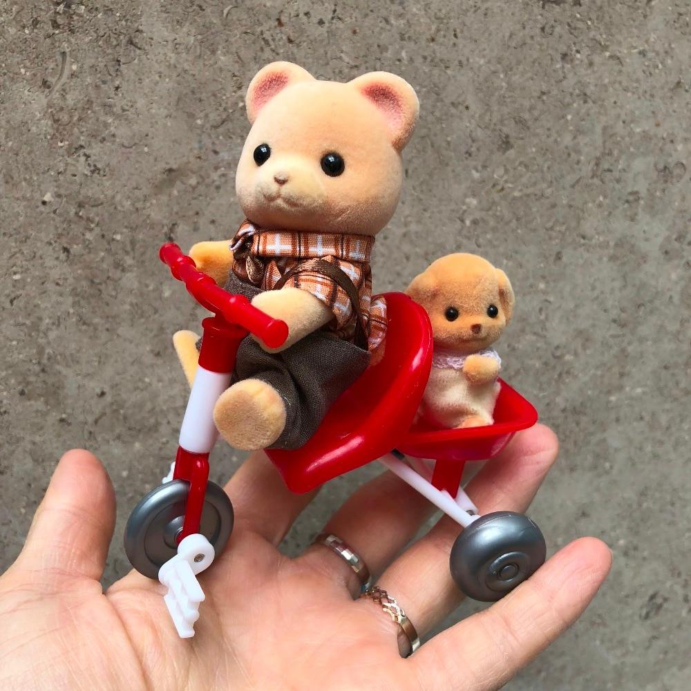 1set 8cm Sylvanian families bicycle play house toy+2 RANDOM(not photo shows)animal plush flocking Sylvan family action doll d11 цены
