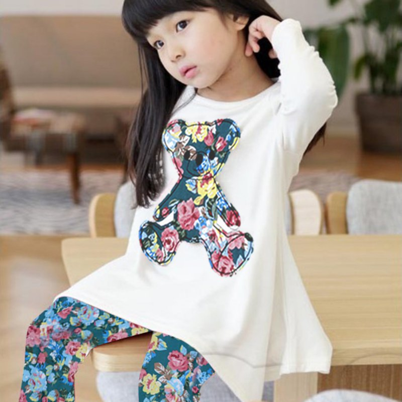 Newest Baby Kids Girls Long Sleeve Irregular Hem Bear T Shirt+Flower Pants Outfits 2-7Y все цены