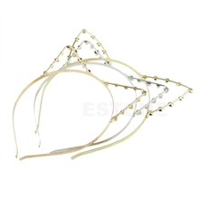 Women Girls Cute Cat Ears Faux Pearl Rhinnewestone Alloy Headband Hair Band