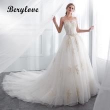 BeryLove Romantische Trouwjurk Tule Kant Bruidsjurken 2018 Bruidsjurken  Plus Size Strapless Trouwjurken Voor Bruiloft e33c8114b851