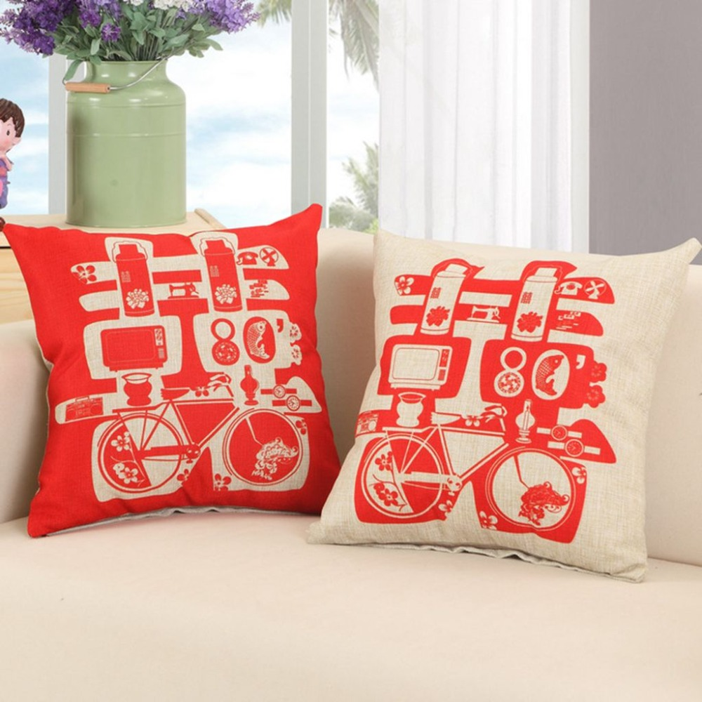new arrivals chinese classic style decorative pillows festival wedding married red throw pillows cotton linen printed