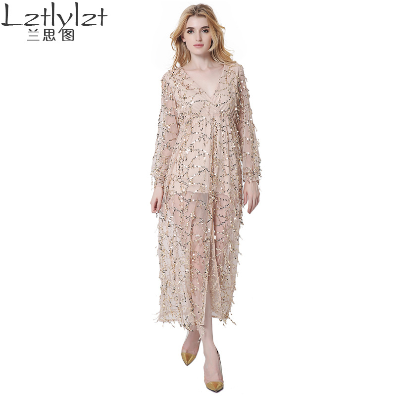 Mjuk rävmärke Kvinnor Sexig lång klänning för sommar V-ringning - Damkläder
