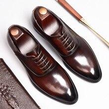 QYFCIOUFU Lace-up Men Leather Shoes Business Dress Suit Shoes Men Brand Bullock Genuine Leather Black Lace Up Wedding Mens Shoes