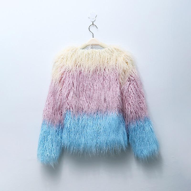 Rosa /& Blau Farbe Mischen Faux Pelzmantel Frauen Flauschigen Warme Weibliche Oberbekleidung Winter Mantel Jacke Langarm Haarigen Mantel 6Q2035