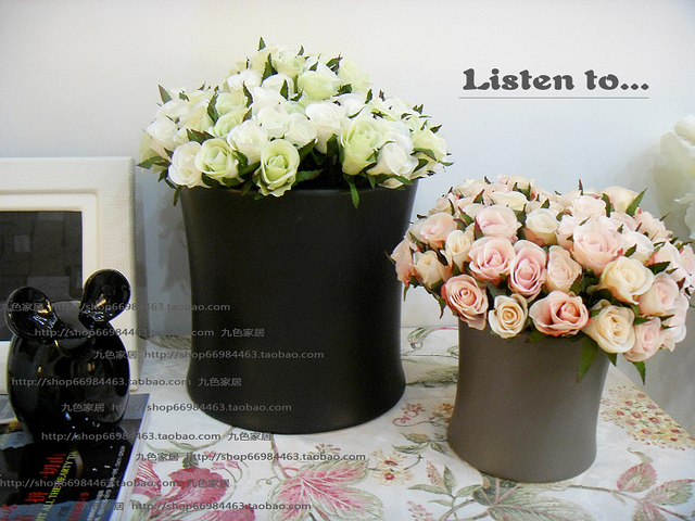 無印良品現代の簡単な ドラム グレー磁器花瓶ホーム