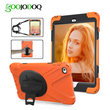 Case for iPad Air 1 2 9.7 Kids Armor Shockproof Heavy Duty Silicone Hard Case + Hand Strap for iPad Air 2 Case 5 6 Cover Stand