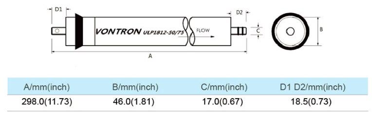 Coronwater Vontron 50 осмотическая мембрана gpd ULP1812-50 обратного осмоса Мембрана для фильтр воды