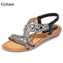 Gykaeo Female Leisure Fashion Flat Sandals 2019 Summer Flower Rhinestone Gladiator Sandals Women Peep Toe Large Size Lady Shoes
