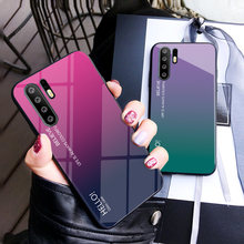 Haissky Gradient Tempered Glass Case For Huawei P30 P30 Pro Rainbow Back Cover For Huawei P20 P9 10 Mate 20 10 Honor 8 9 10 Lite(China)