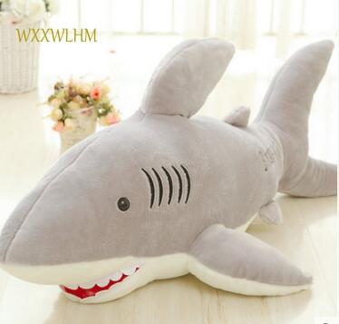 80cm Plush Toy Shark Doll Dolphin Plush Toy Creative Pillow Cute Jaws Birthday Party Gift cute big head dog toy short plush throw pillow blue beige 80cm