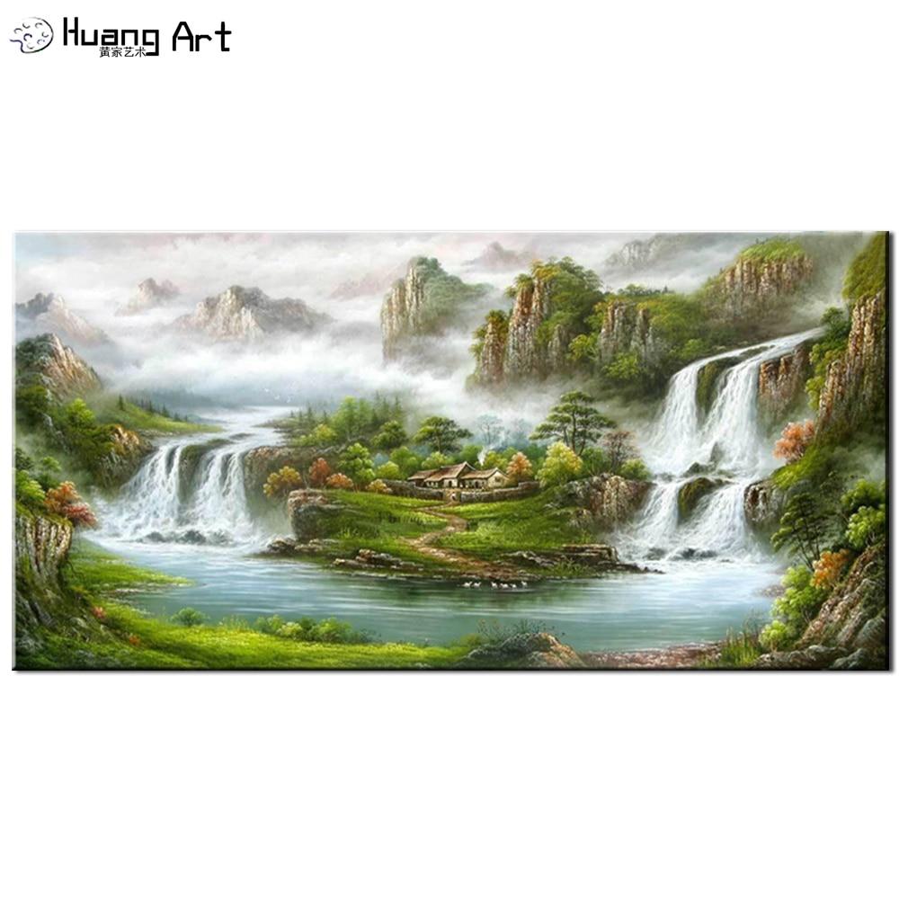 Moderna Handmade di Paesaggio di Montagna Pittura A Olio Su Tela di Canapa Per Living Room Decorazione Della Parete di Arte Pittura di Paesaggio di Stile Cinese