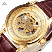 New SEWOR Luxury Brand Male Gold Hollow Skeleton Clock Fashion Leather Strap Men Mechanical Hand Wind