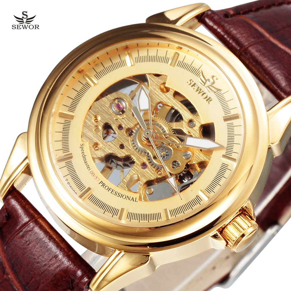 New SEWOR Luxury Brand Male Gold Hollow Skeleton Clock Fashion Leather Strap Men Mechanical Hand Wind Wrist Watch Relogios 2016 forsining roman skeleton hollow fashion mechanical hand wind men luxury male business leather strap wrist watch relogio