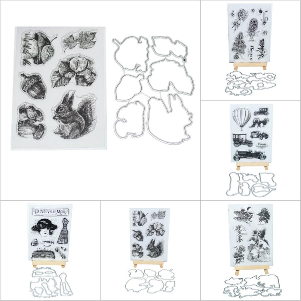 Transparent Silicone Seal Stamp +Cutter Blade Mold DIY Photo Album Card Account Planner Carbon Steel Scrapbook Embossing Die scrapbook diy photo album card hand account rubber seal product seal transparent seal stamp cat