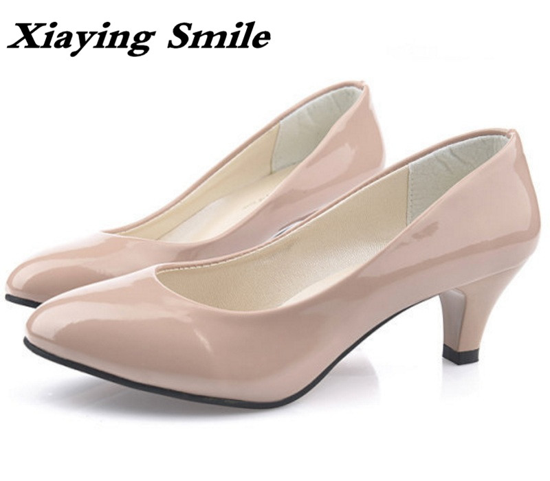 Xiaying Smile Woman Pumps British Shoes Women Thin Heels Style Spring Autumn Fashion Office Lady Slip