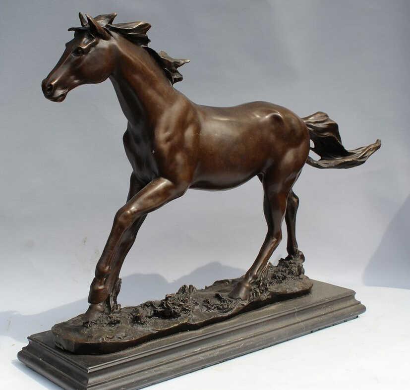 Scy 003428 16 الصينية النحاس والبرونز والرخام فن زخرفة المنزل الراحة الحصان تمثال النحت (A0414)
