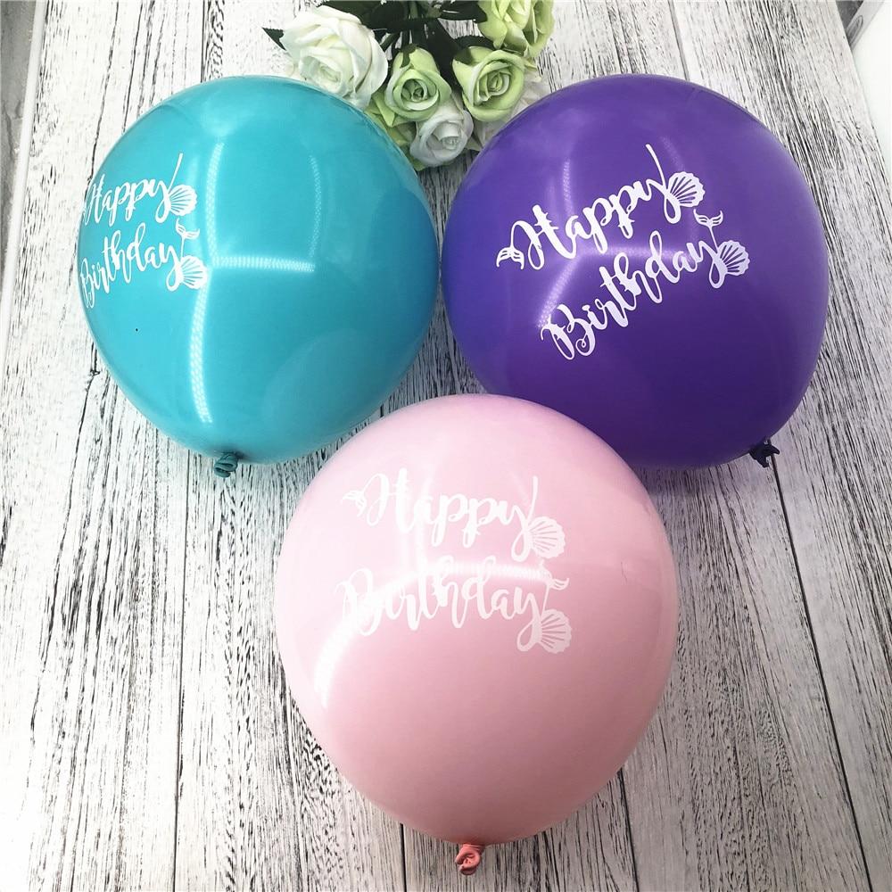 Ynaayu 10pcs Hot Sale Latex Balloons 10 Inch Happy Birthday Mermaid Balloon Party Supplies Baby Shower Decor