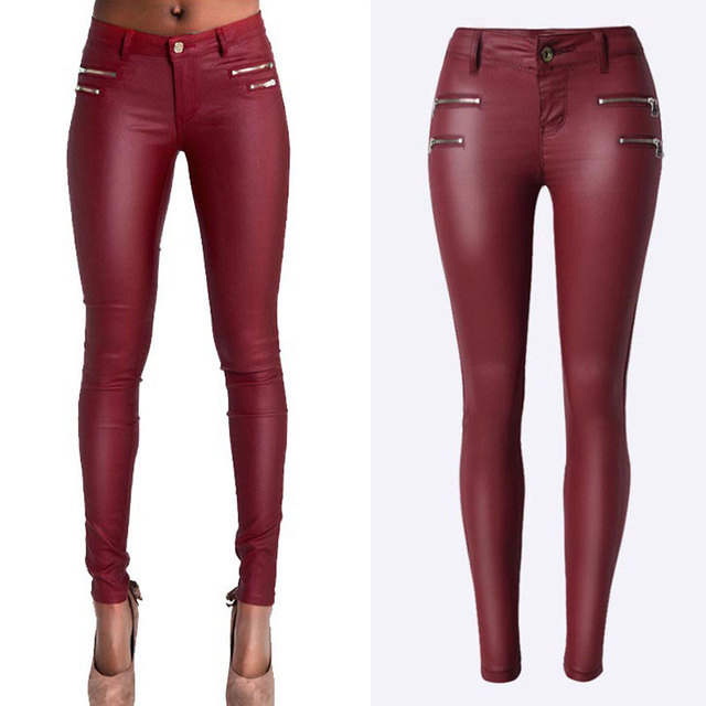 9f9add2a3dfce Femmes Skinny Jeans Sexy taille basse vin rouge Stretch jeans Faux cuir Slim  PU crayon pantalon