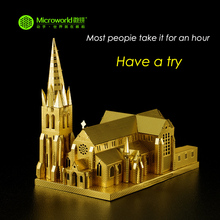 купить MICROWORLD Laser Cut Metal Model Building Christchurch Cathedral 3D Metal Nano Puzzle Assembly Jigsaw Adult Collectible Gift дешево