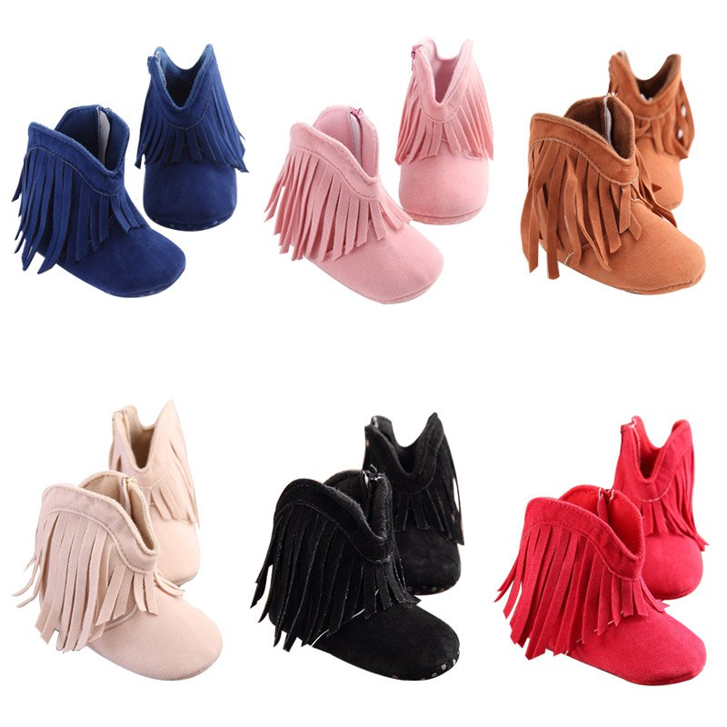 Baby Shoes Spring Tassel Boots Baby Girls Shoes Fashion Soft First Walkers Fringe Cotton Newborn Princes Girl Shoes US Shippment