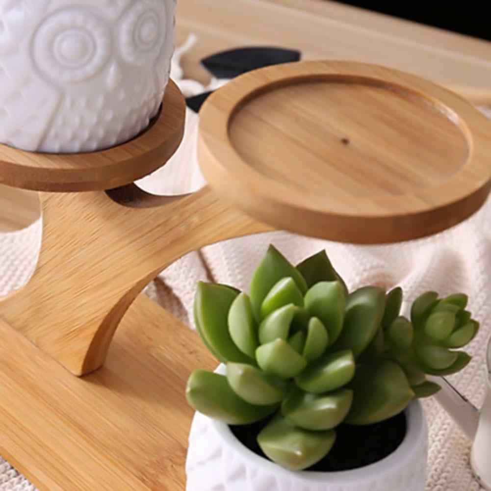1 компл.. Простой Творческий сочные завод керамика цветочный горшок + бамбуковая Полка Комплект офис Настольный украшения зеленый ящик для растений стенд