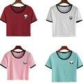 Новый горячий женщины топы вышивка дизайн Иностранцев футболки женщины с коротким рукавом футболка удобные студенток футболки подростки