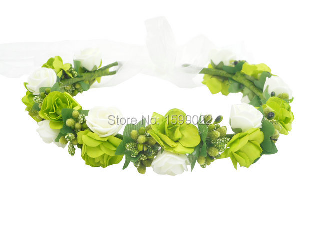 Green Flower Crown Girls Dress Headband Floral Hair Accessories for  Weddings Bridesmaid Headdress Fairy Birthday Party Headwear-in Hair Jewelry  from Jewelry ... d9144e890c5