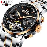 Для мужчин часы роскоши лучший бренд LIGE tourbillon механические Спортивные часы Для мужчин модные бизнес автоматические часы человек Relogio Masculino