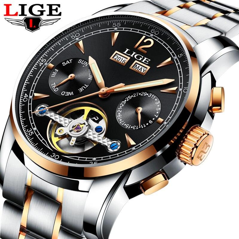 Gli uomini di Orologi di Lusso Top di Marca LIGE tourbillon Meccanico Orologio sportivo da Uomo di affari di Modo Automatico Uomo orologio Relogio Masculino