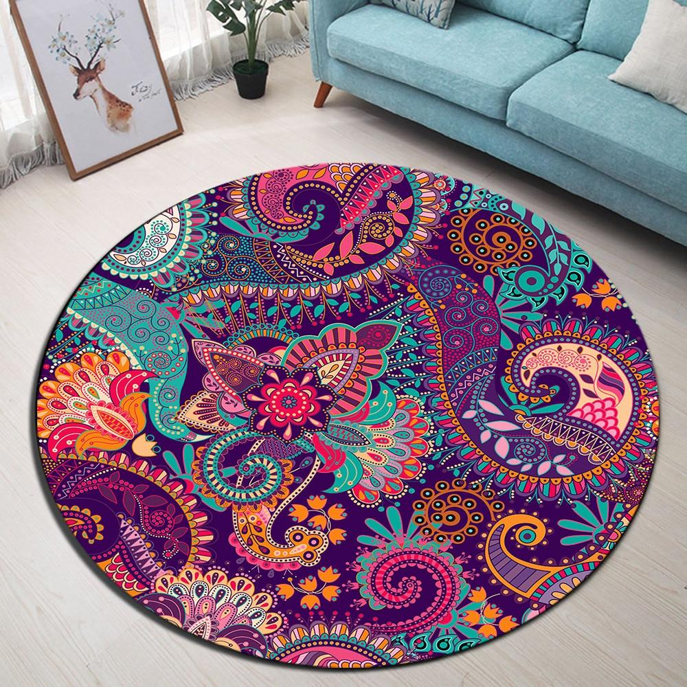 Boho Floral Blossom Paisley Baroque Mandala Round Area Rug & Carpet for  Home Living Room Bedroom Cushion Bathroom Floor Door Mat