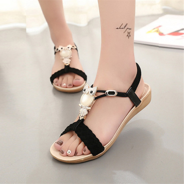 fbd9f9db63ad60 Women Sandals 2018 hot bohemia beaded owl wedge sandals women flip flop  summer style shoes woman shoes sandals-in Middle Heels from Shoes on  Aliexpress.com ...