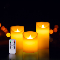 3pcs/set Flameless Led Candle Light Made By Paraffin Wax With Timer remote function, Birthday Party Candle, Home Room Decoration