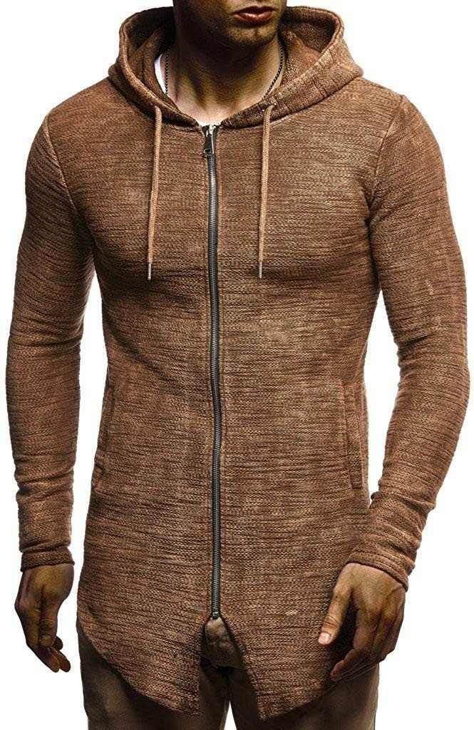 Erkek kapüşonlu süveter Ceket Slim Fit Hırka Uzun Kollu Kış Rahat Örgü Kapşonlu Ceket Hip Hop Streetwear adamın Kazak