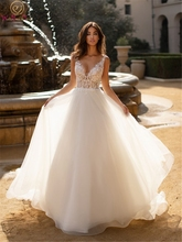 Appliques Tulle Wedding Dresses 2019 New Summer Sexy Deep V-Neck Sleeveless Bridal Gowns Backless vestido de noiva Custom Made