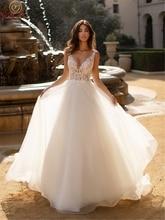 Appliques Tulle Wedding Dresses 2019 New Summer Sexy Deep V-Neck Sleeveless Bridal Gowns Backless vestido de noiva Custom Made