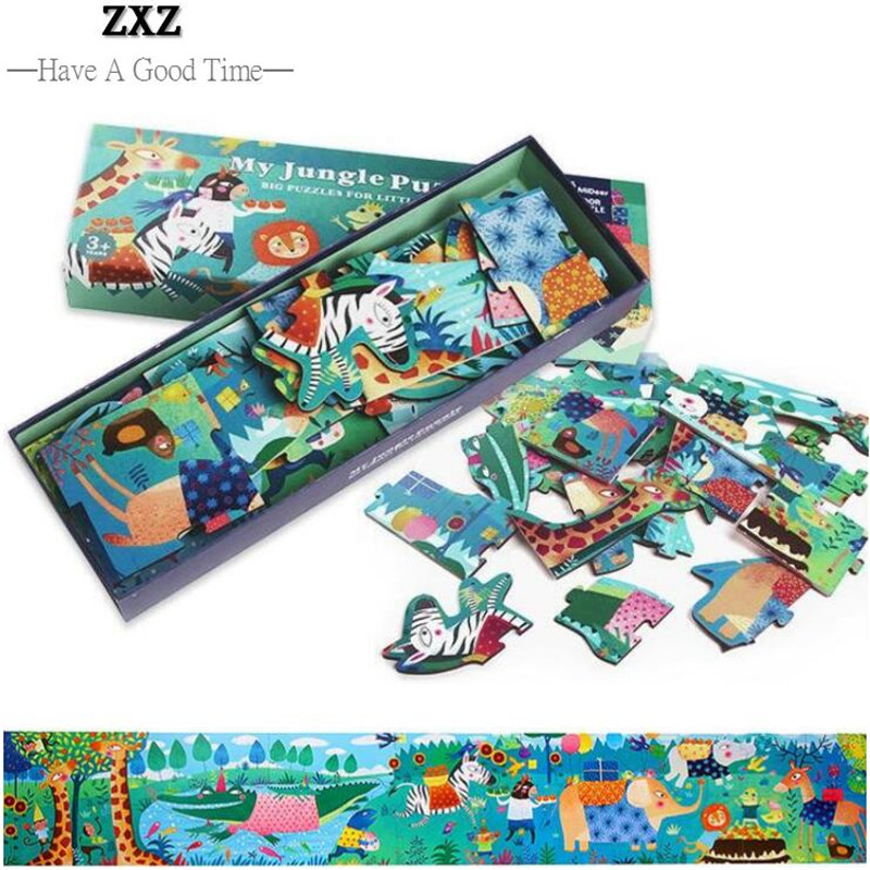 1.4 Meter Super Long Wooden Puzzle Animal World Jigsaw Puzzle Kids Early Learning Education Toys Mother & Kids Interaction Game buw constellation frame series pisces diy wooden 3d puzzle jigsaw model g pf102 creative toys of boys girls preschool education games
